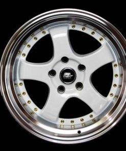MST wheels MT07 White Machined Lip Gold Rivets