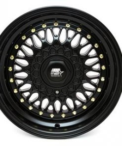 MST wheels MT13 Matte Black Gold Rivets