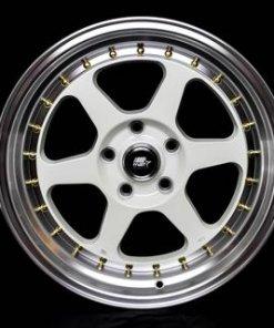 MST wheels MT35 White Machined Lip Gold Rivets