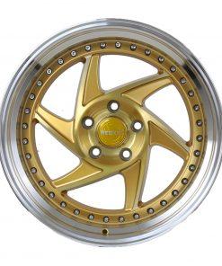 Regen5 wheels R34 Brushed Gold Polished Lip