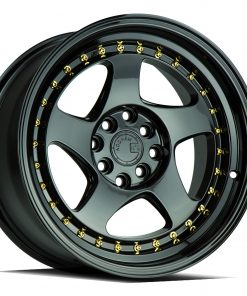 AH01 AH01 15X8 4X100/114.3 Gloss Black Gold Rivets
