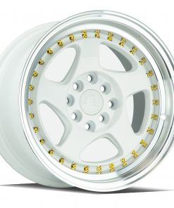 AH01 AH01 15X8 4X100/114.3 White Machined Lip Gold Rivets