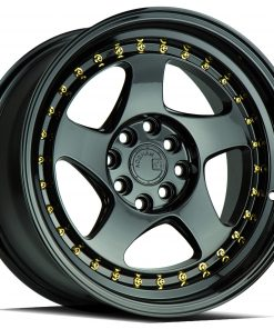 AH01 AH01 17X9 4X100/114.3 Gloss Black Gold Rivets