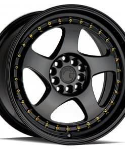 AH01 AH01 17X9 5X100/114.3 Gloss Black Gold Rivets