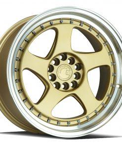 AH01 AH01 17X9 5X100/114.3 Gold Machined Lip