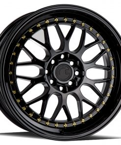 AH02 AH02 17X8 4X100/114.3 Gloss Black Gold Rivets