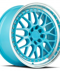 AH02 AH02 17X8 4X100/114.3 Tiffany Blue Machined Lip
