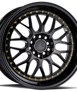 AH02 AH02 17X8 5X100/114.3 Gloss Black Gold Rivets