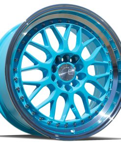AH02 AH02 17X8 5X100/114.3 Tiffany Blue Machined Lip