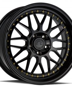 AH02 AH02 18X8.5 5X114.3 Gloss Black Gold Rivets