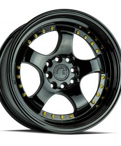 AH03 AH03 15X8 4X100/114.3 Gloss Black Gold Rivets
