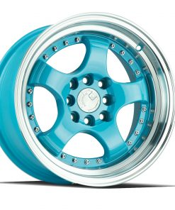 AH03 AH03 15X8 4X100/114.3 Tiffany Blue Machined Lip
