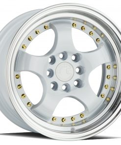 AH03 AH03 15X8 4X100/114.3 White Machined Lip Gold Rivets