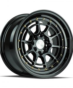 AH04 AH04 15X8 4X100/114.3 Gloss Black Gold Rivets