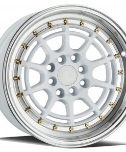 AH04 AH04 15X8 4X100/114.3 White Machined Lip Gold Rivets