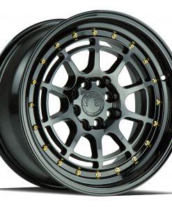 AH04 AH04 16X8 4X100/114.3 Gloss Black Gold Rivets