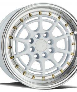 AH04 AH04 16X8 4X100/114.3 White Machined Lip Gold Rivets