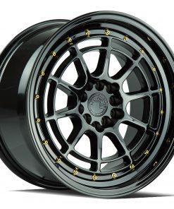 AH04 AH04 17X9 5X100/114.3 Gloss Black Gold Rivets