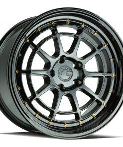 AH04 AH04 18X10.5 5X114.3 Gloss Black Gold Rivets