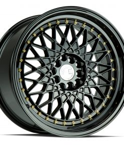 AH05 AH05 17X9 4X100/114.3 Gloss Black Gold Rivets