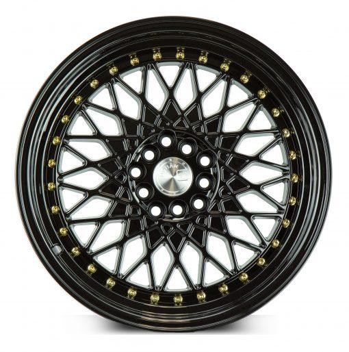 AH05 AH05 17X9 5X100/114.3 Gloss Black Gold Rivets