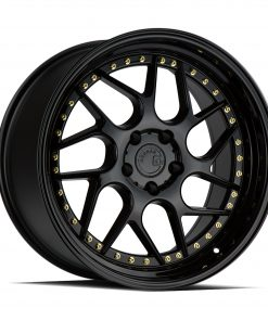 DS01 DS01 18X8.5 5X114.3 Gloss Black Gold Rivets