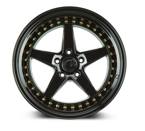 DS05 DS05 18X10.5 5X114.3 Gloss Black Gold Rivets