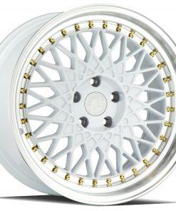AH05 AH05 15X8 4X100/114.3 White Machined Lip Gold Rivets