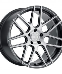 MOSCOW MOSCOW 22X11 5X130 Gloss Gun Metal Milled Spoke Brushed Silver Face